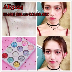 AE3124 Face and Body Use Flash Gel 12COLORS/SET (NO NEED GLUE)
