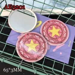 AE3201 Card Captor Sakura feature Small Round Make Up Mirror, Easy Take Away!