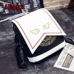 Card Captor Sakura Schoold Bag Backpack Magical Card Bag Halloween Carnival Cosplay Anime PU Backpack AE3301