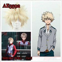 AE3592 MY HERO ACADEMIA BAKUGOU KATSUKI COSPLAY ANMIE SHORT WIG COLORFUL FAKE HAIR 35CM