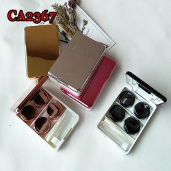 CA2367 LUXURY MIRROR COVER METAL 2 PAIRS CONTACT LENS CASE