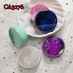 CA3176 GLITTER QUICKSANDS ROUND CONTACT LENS CASE
