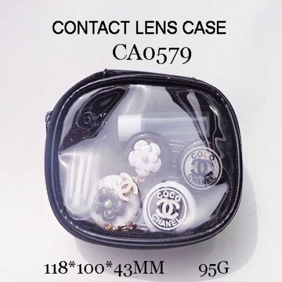 CONTACT LENS CASE CHANEL AND FLOWER DECO 2PAIRS WITH PU SAVING BAGE CA0579