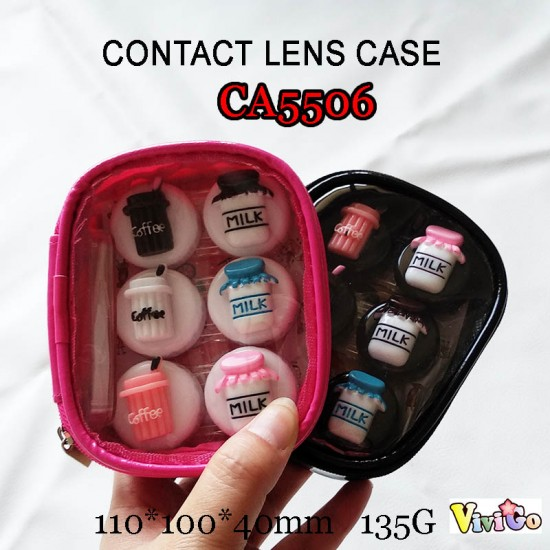 CA5506 COFFEE AND MILK DECO 3PAIRS CONTACT LENS CASE WITH PU SAVING BAG