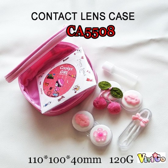 CA5508 PINK CHERRY AND FLOWER DECO 2 PAIRS PAIRS CONTACT LENS CASE WITH PU SAVING BAG