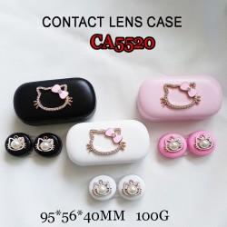 CA5520  DIAMOND KITTY HEAD DECO PU COVER IRON CONTACT LENS CASE