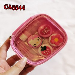 CA5544 PINKY FLOWER AND KITTY DECO 2 PAIRS PAIRS CONTACT LENS CASE WITH PU SAVING BAG