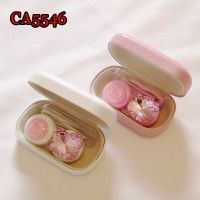 CA5546 KITTY AND PINK DIAMOND DECO PU COVER IRON CONTACT LENS CASE