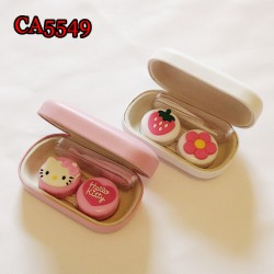CA5549 FLOWER AND KITTY DECO PU COVER IRON CONTACT LENS CASE