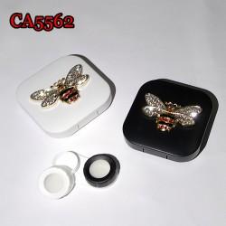 D-CA5562 RETRO METAL DIAMOND BEE CONTACT LENS CASE