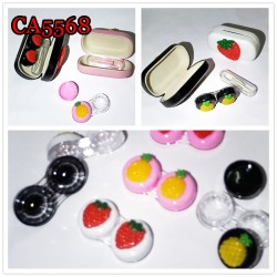 CA5568 PINEAPPLE DECO PU COVER IRON CONTACT LENS CASE