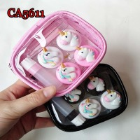 CA5611 UNICORN DECO 2 PAIRS PAIRS CONTACT LENS CASE WITH PU SAVING BAG