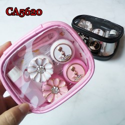 D-CA5620 RETRO DIAMOND GIRL AND FLOWER  2PCS CONTACT LENS CASE WITH PU SAVING BAG