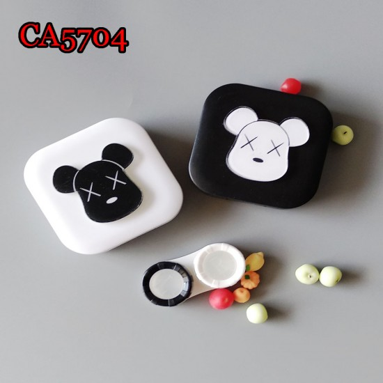X BEAR BLACK AND WHITE DECO CONTACT LENS CASE CA5704