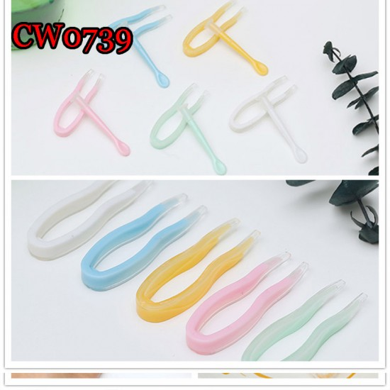CW0739 SOFT COLORFUL PLASTIC CONTACT LENS TWEEZERS AND INSERTER SET