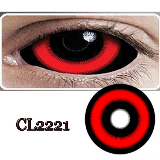 CL2221 SCLERA 22MM COLOR CONTACT LENS FIRE BLACK RED (PAIR)