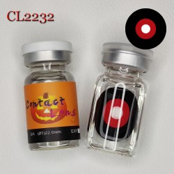 CL2232 SCLERA 22MM COLOR CONTACT LENS ZOMBIE RED BLACK (PAIR)