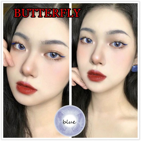 BUTTERFLY BLUE COLOR SOFT CONTACT LENS  (PAIR)