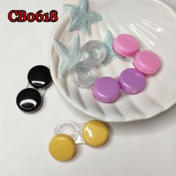 CB0618 FLAT CAP COLORFUL CONTACT LENS CASE SMALL DUALBOX FOR LENS