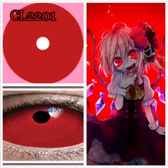 C-CL2201 SCLERA 22MM COLOR CONTACT LENS RED RING  (2PCS/PAIR)