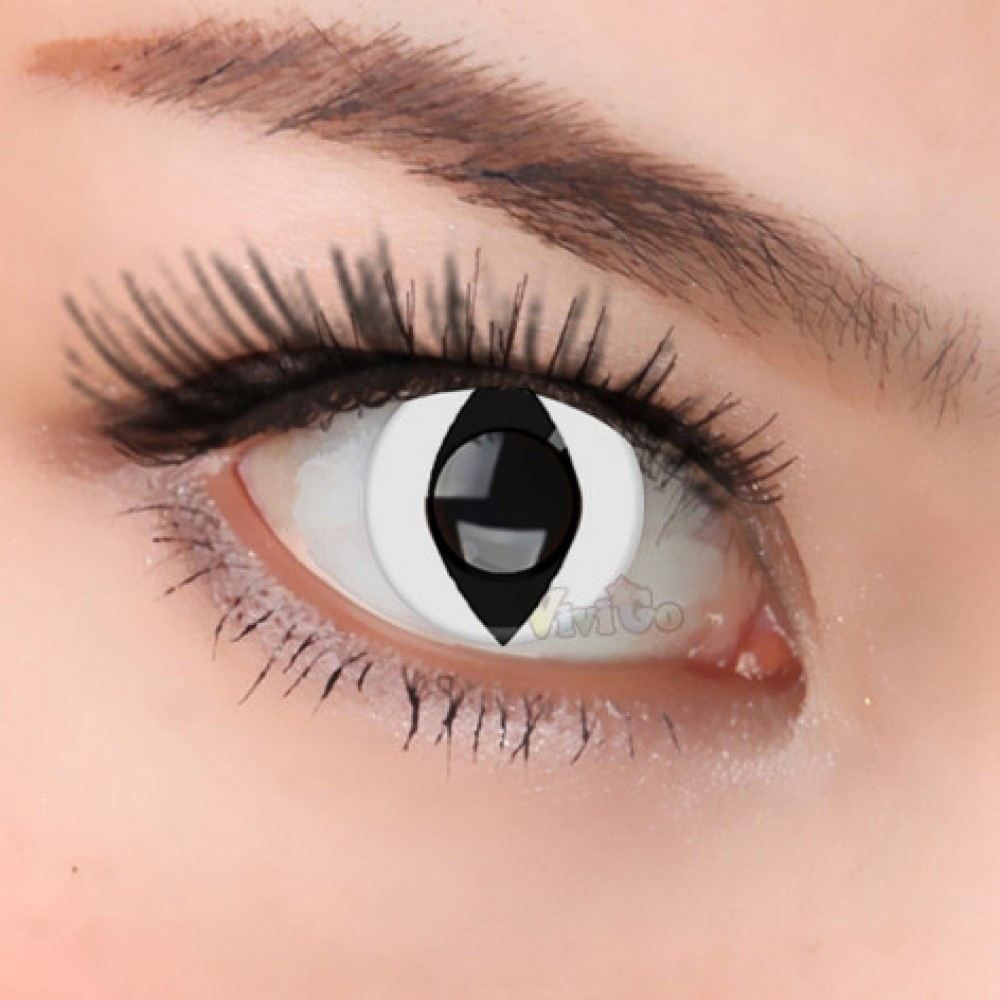 CL049 Funky White Cat Contact Lenses(PAIR)