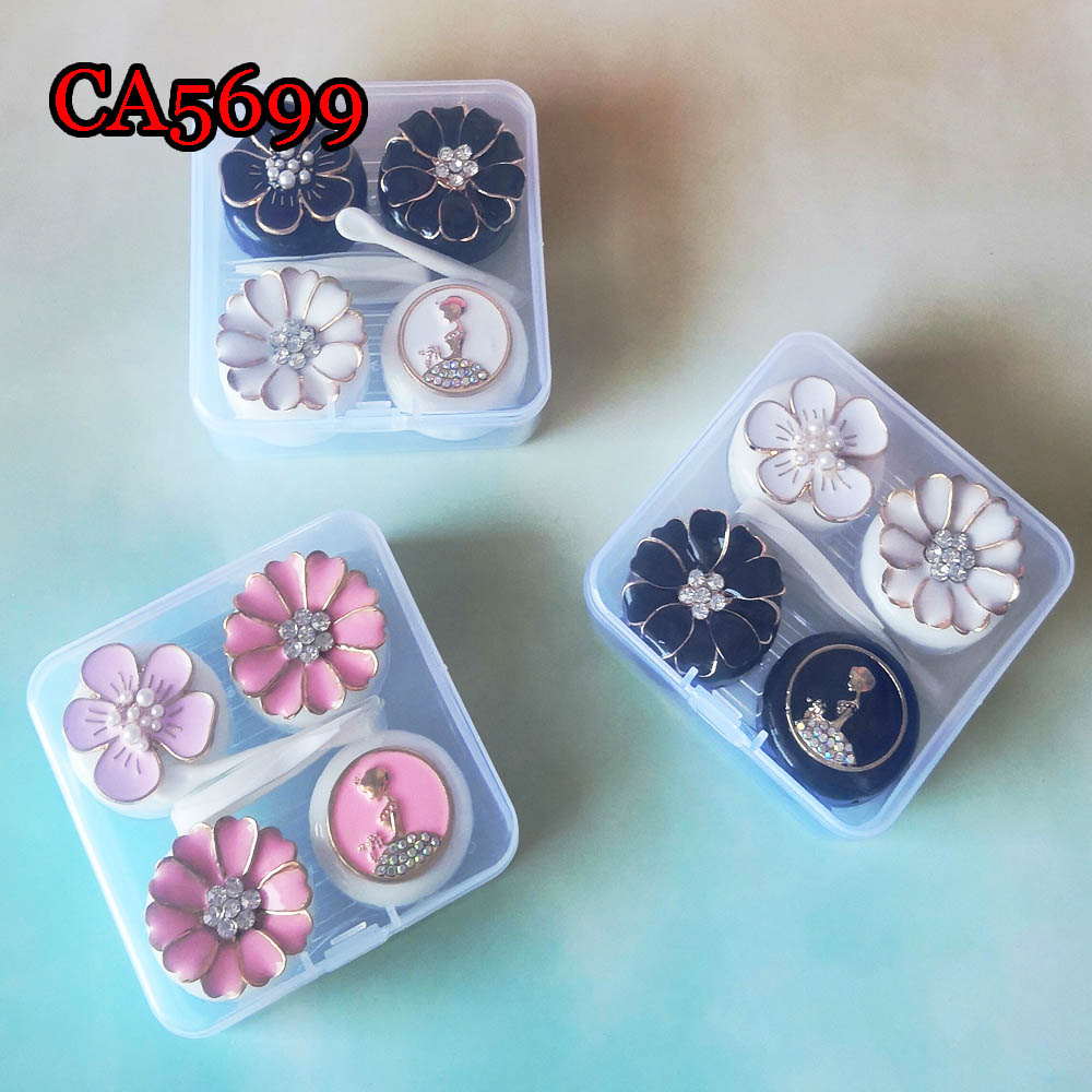 LUXURY FLOWER AND GIRL DECO CONTACT LENS CASE 2PCS PP BOX CA5699